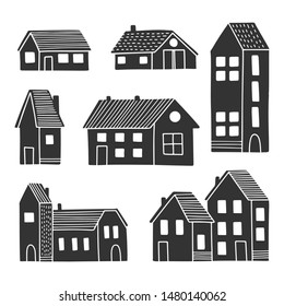 Cute black and white houses in scandinavian style. Isolated buildings set.