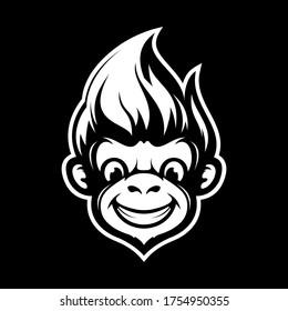 cute black white monkey head vector