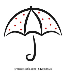 cute black white red linear vector umbrella with red dots