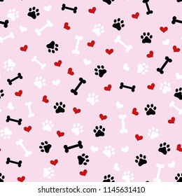 Cute black, white, red seamless vector pattern background illustration with bones, hearts, paws. Can be used for t-shirt print, fashion print design, kids wear, baby shower, greeting and postcard.