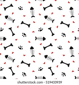 cute black white red seamless vector pattern background illustration with bones, hearts, paws and fish bones