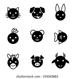 Cute black and white vector animal face icons