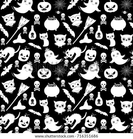 Cute Black White Vector Seamless Halloween Stock Vector Royalty