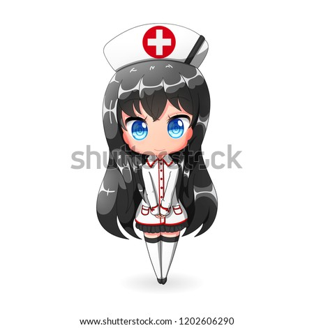 Cute Blackhaired Nurse White Medical Gown Stock Vector Royalty Free