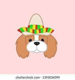 Cute Blenheim Cavalier King Charles Spaniel Celebrates Cinco de Mayo Wears Sombrero Cartoon Vector Illustration