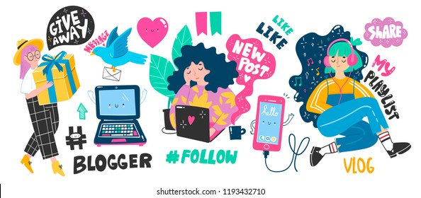 Cute blogger girls and various internet stuff. Big vector set. All elements are isolated