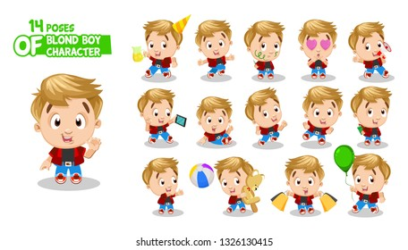 Cute blond boy in red shirt, jeans. Guy in different poses and situations: celebrates, takes selfie, draws, runs. Full length front and three quater view. Ready to use cartoon set isolated on white.