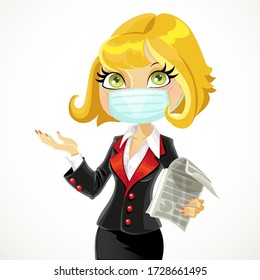 Cute blond business woman in face mask explains something or gives a presentation isolated on a white background