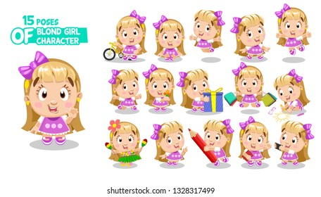 Cute blond girl with bow in pink dress. Child in different poses and situations: dances, takes selfie, shops. Full length front and three quater view. Ready to use cartoon set isolated on white.