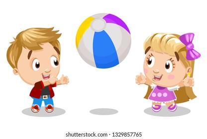 Kids Throw Ball Cartoon Images Stock Photos Amp Vectors