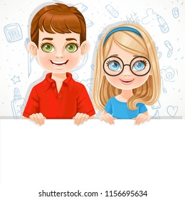 Cute blond girl in glasses and brunette boy holds a large white horizontal banner on a white background with school doodles
