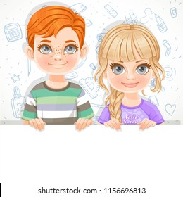Cute blond girl in violet tee-shirtnd redhaired boy holds large white horizontal banner on a white background with a school doodles
