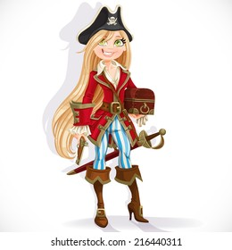 Cute blond pirate girl with cutlass, pistol and chest isolated on a white background