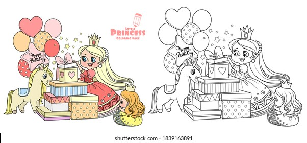 Cute blond princess opens birthday gifts outlined and color for coloring book