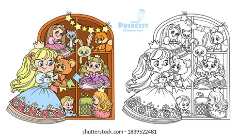 Cute blond princess playing with teddy bear near a wardrobe with toys outlined and color for coloring book