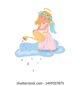 Cute blonde angel girl use watering can to shower