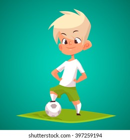 Cute Blonde Boy With Ball Vector Illustration Cartoon Character Of Playing Football