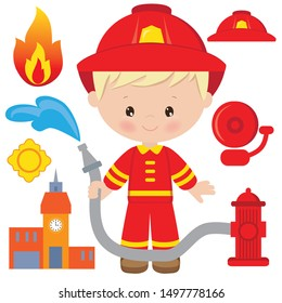 Cute blonde boy firefighter vector cartoon illustration
