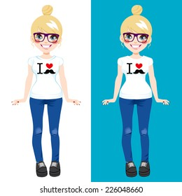 Cute blonde teenager girl wearing white shirt with I love mustache print design in two different background color versions