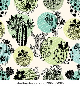 Cute blooming cactuses. Hand drawn seamless pattern, perfect for fabric, wallpaper.