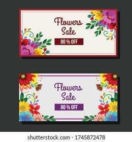 cute blossom flower sale banner sticker vector illustration
