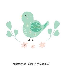 Cute blue bird cartoon.White background.Baby vector illustration.Cute illustration of woodland animals for children's design,card, invitation, print on clothing