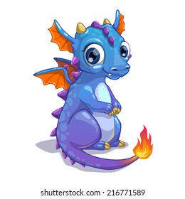 Cute blue cartoon dragon with fire on the tail