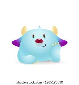 Cute blue cartoon monster illustration. Horns, sunflower, cuteness. Cartoon concept. Vector illustration can be used for topics like kids, cartons, advertisement