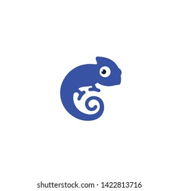 cute blue chameleon forms the letter c