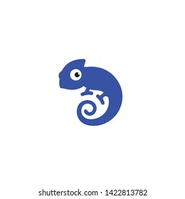 cute blue chameleon forms the letter D