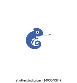 cute blue chameleon logo design