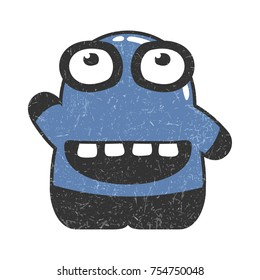 Cute blue character with smile and funny emotions isolated on white. Glossy monster with grunge shapes on it.