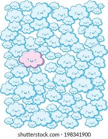 Cute Blue Clouds - Vector Pattern