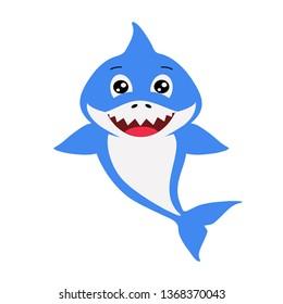 Cute blue decorative boy shark. Vector