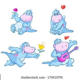 cute blue dino in love
