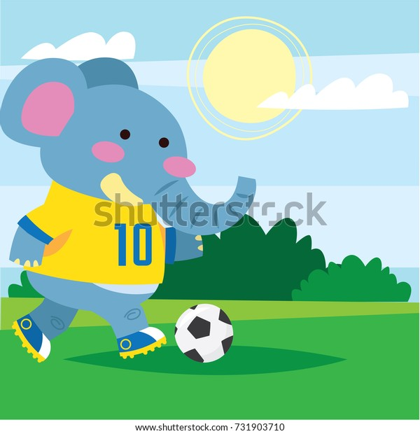 Cute blue elephant playing football/ soccer in the field. Cute animal series for kid. Cute and funny animal t shirt design for kid.
