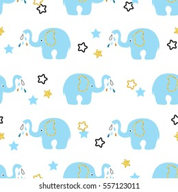 Cute blue elephants seamless pattern. Vector kids background.