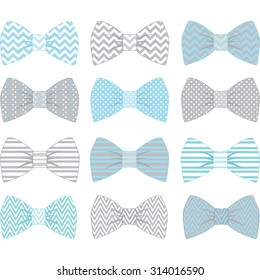 Cute Blue and Grey Bow Tie Collection.