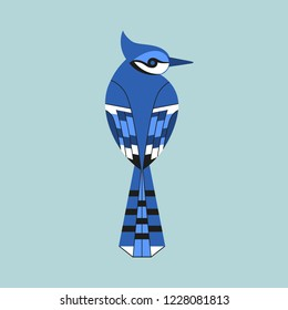 Cute Blue Jay bird icon. Sitting animal sign. Minimal flat geometric style winter birds of woodland, backyard. Birdwatching element design idea. Scavenging card background. Vector illustration