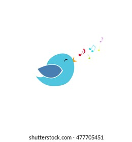 cute blue little bird sings with its beak and fly colorful notes, Vector illustration, bird  in minimalistic style