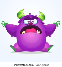 Cute blue monster cartoon with funny expression. Halloween vector illustration of fat furry troll or gremlin monster isolated
