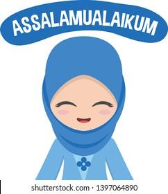 Cute blue muslim hijab veil girl greet people with assalamualaikum