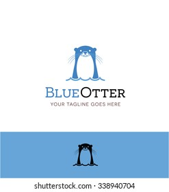 cute blue otter logo for creative business, shop or website