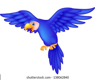 Cute blue parrot cartoon flying