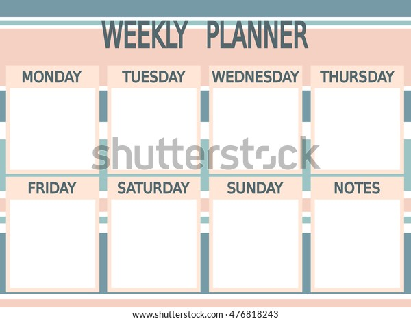 picture about Cute Weekly Planner Printable named Lovable Blue Red Vector Printable Weekly Inventory Vector (Royalty