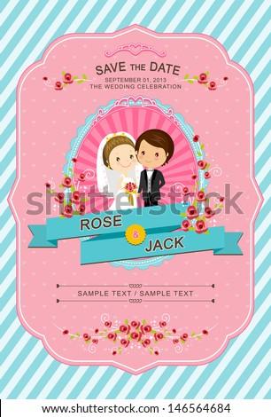 cute blue pink wedding invitation card stock vector royalty free