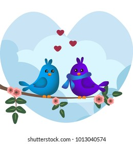 Cute blue and purple birds sitting on a branch with flowers. Cute sparrows in love on sky background