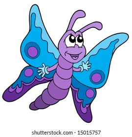 Cute blue and purple butterfly - vector illustration.