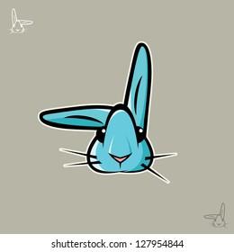 Cute blue rabbit - vector illustration