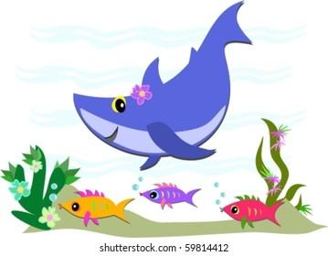 Cute Blue Shark and Fish Friends